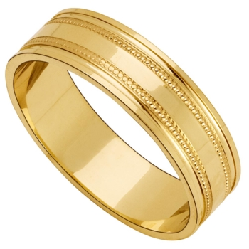 9ct 6mm Millgrain Gents Band
