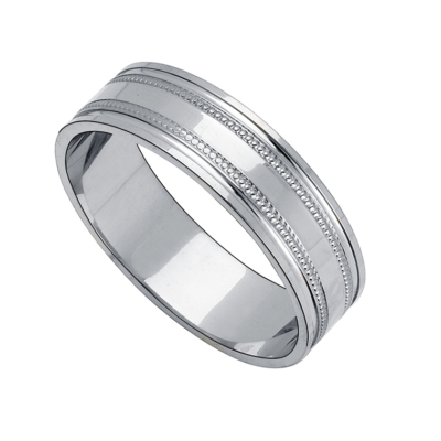 9ct White Gold Band