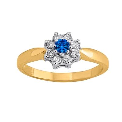9ct Ladies Ring Blue Cluster