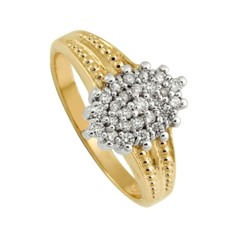 18ct Ladies Cluster Diamond Ring 0.30ct