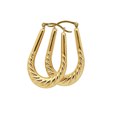 9ct Gold Creole Ribbed