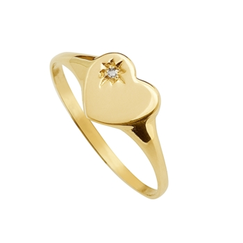 9ct Heart Diamond Signet Ring