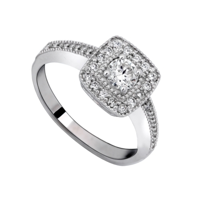 9ct White Gold Dress Ring Solitaire Cubic Ziriconias Square
