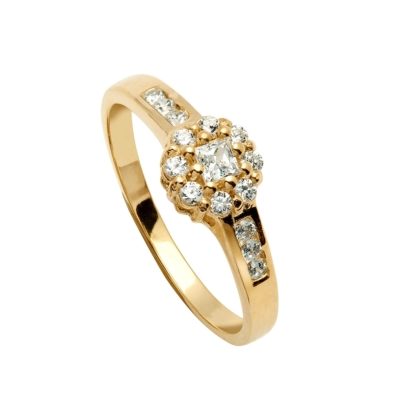 9ct Cluster Dress Ring 15 Cubic Zirconia