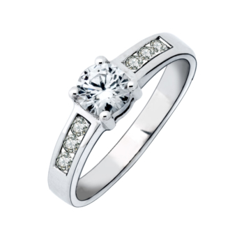 9ct White Gold Dress Ring Solitaire 4mm Round 7cz