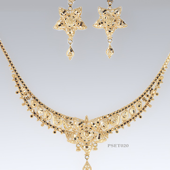 Ladies 9ct Gold Earring Pendant and chain set, Filigree set, Eastern Wedding Set