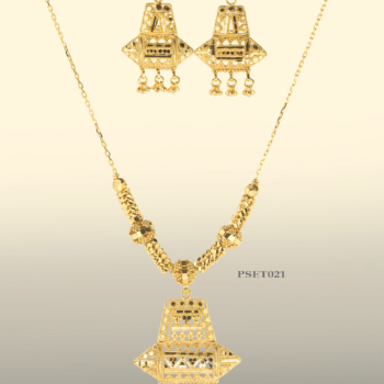 Pendant, Earring, Chain set, Eastern Jewellery, 9ct Gold, Filigree