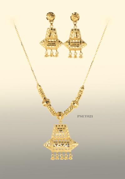 Pendant, Earring, Chain set, Eastern Jewellery, 9ct Gold, Filigree