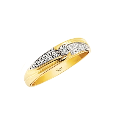 9ct Diamond Rhodium Ring