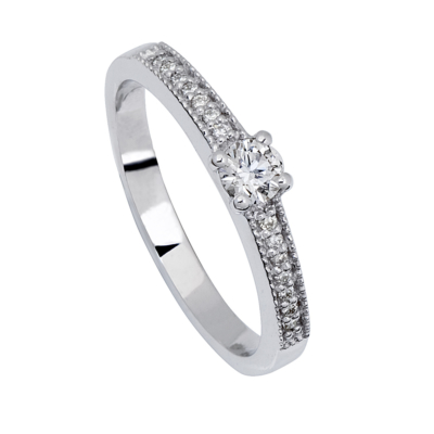 18ct White Gold Square Top Solitaire 0.21ct