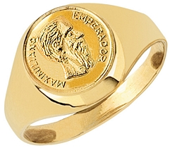 9ct Gents Pesco Coin Ring