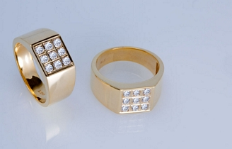 9ct Gold Gents Ring with 0.63ct Diamond
