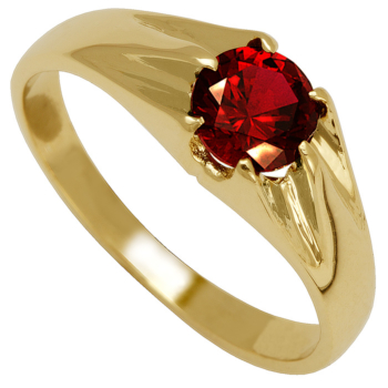 9ct Gents Red Stone Ring