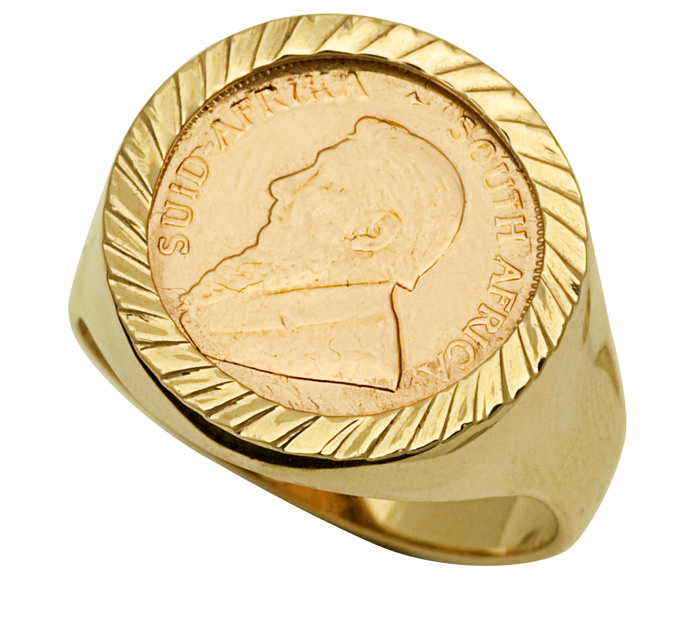9ct Gents Kruger Coin Ring