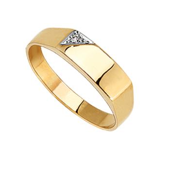 9ct Diamond Plain Gents Ring