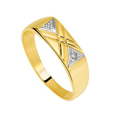 9ct Gold Gents Diamond Ring