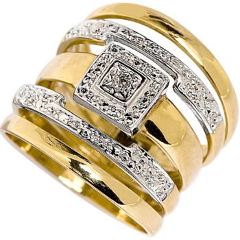 9ct Square Top Diamond Ring