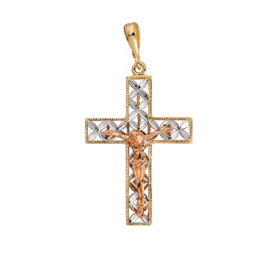 9ct 3 Tone Crucifix Cross