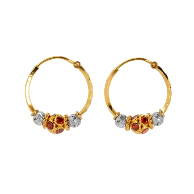 9ct Gold Waris With Glitter Red Ball