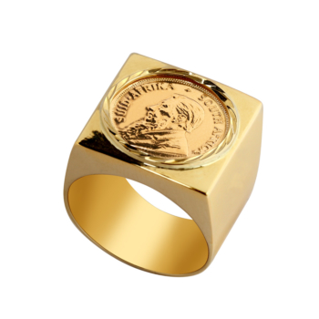 9ct Square Kruger Coin Ring