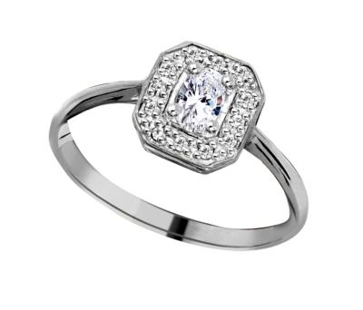9ct White Gold Ladies Ring Microset