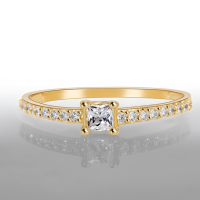 9ct Gold Solitaire Princess Cz