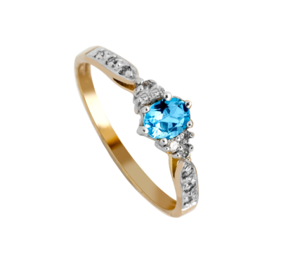 9ct Aquamarine Diamond Ladies Ring