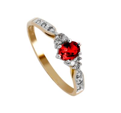 9ct Garnet Diamond Ladies Ring