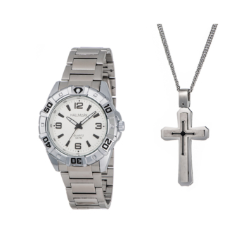 Hallmark Silver Gents Watch And Cross