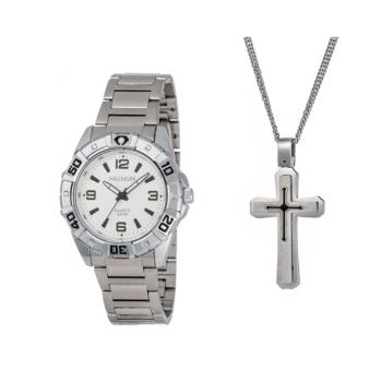 Hallmark Silver Gents Watch And Cross