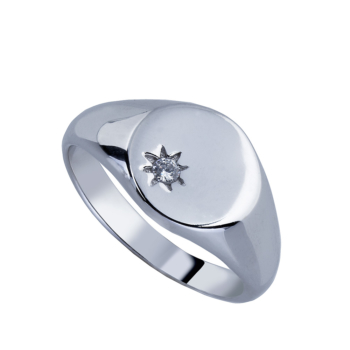 Sterling Silver Cz Signet Ring