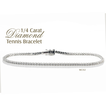 9ct White Gold Tennis Bracelet 0.28ct Diamond