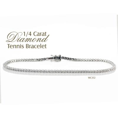 9ct White Gold Tennis Bracelet 0.28ct Diamond